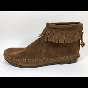 Minnetonka Suede Leather Moccasins Booties 6.5 Zip